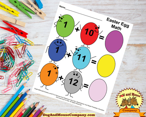 Happy Face Easter Egg Math Addition Worksheets For Kindergarten Kids by dogandmousecompany.com