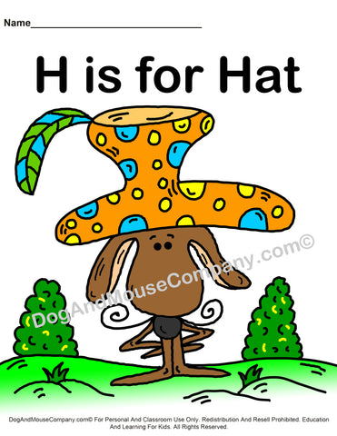 H is for hat coloring page template worksheet by dogandmousecompany.com