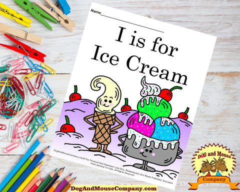 I Is For Ice Cream Colored Template Worksheet by dogandmousecompany.com