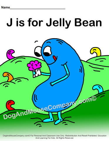 J Is For Jelly Bean Colored Template Printable Worksheet by dogandmousecompany.com