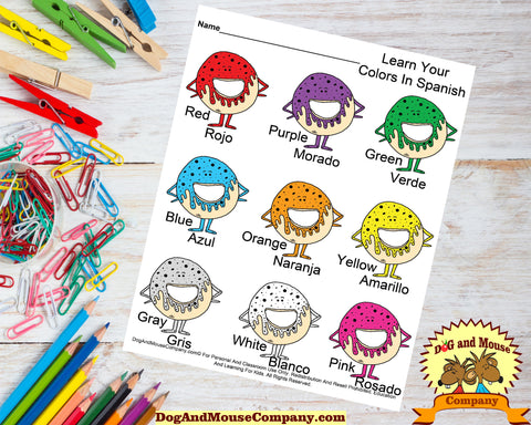 Learn Your Colors In Spanish With Donuts Preschool Worksheets by dogandmousecompany.com