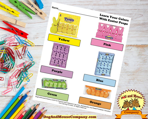 Learn Your Colors With Marshmallow Easter Peeps Candy Preschool Worksheets by Dog And Mouse Company | dogandmousecompany.com