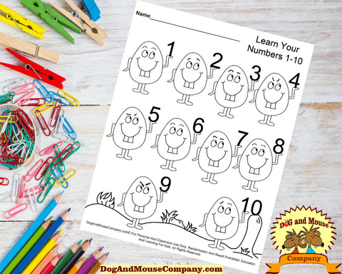 Learn Your Numbers 1-10 With Easter Eggs Preschool Worksheets by dogandmousecompany.com