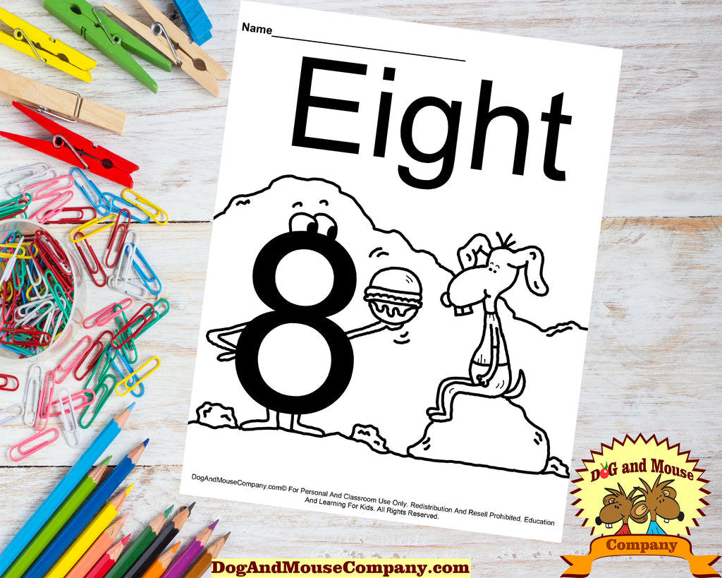 Learn The Number Eight Coloring Page Preschool Worksheet by DogAndMouseCompany.com