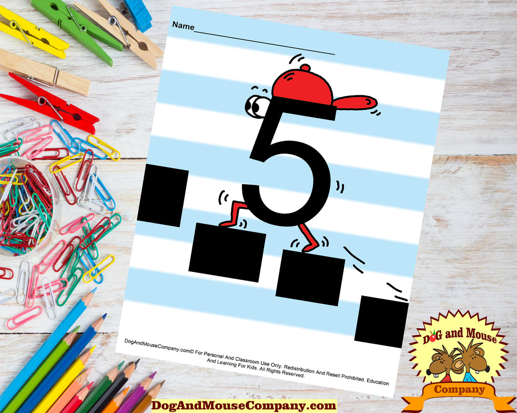Learn The Number Five Preschool Worksheet Colored Template by DogAndMouseCompany.com Digital Download