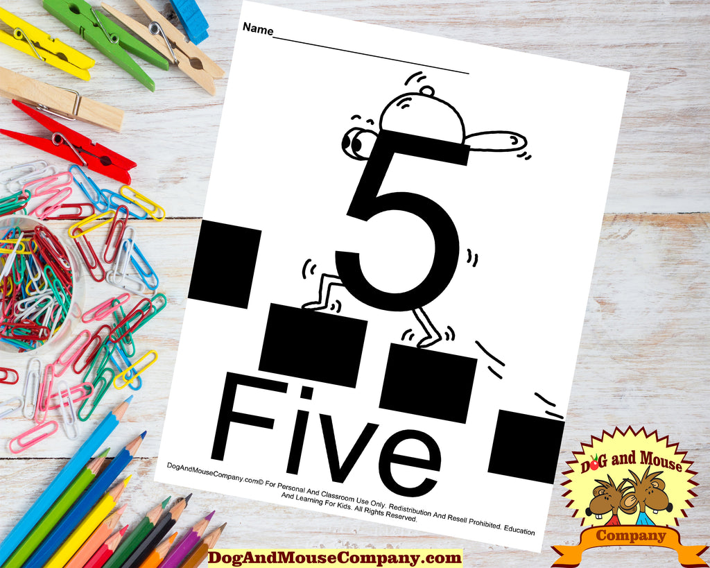 Learn The Number Five Coloring Page by DogAndMouseComany.com | Preschool Worksheets Digital Download