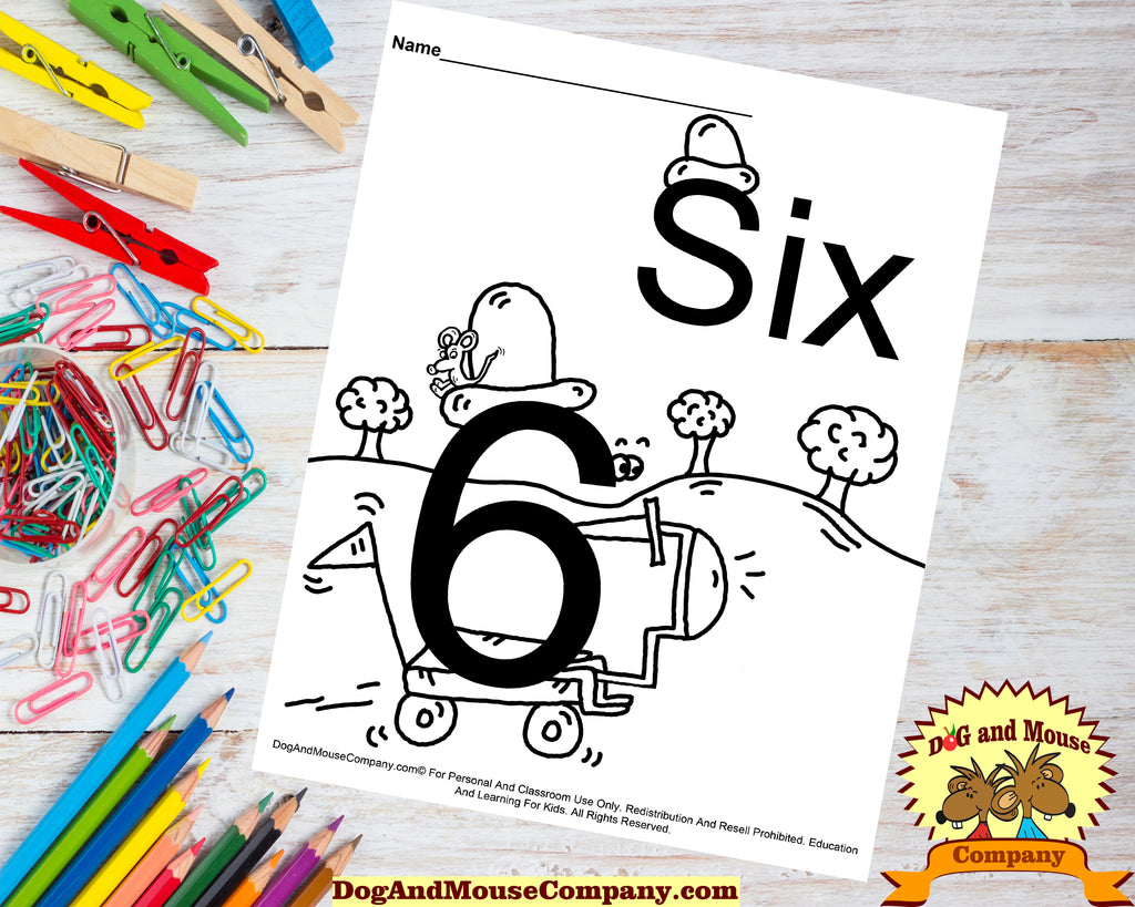 Learn The Number Six Coloring Page Preschool Worksheet Digital Download by DogAndMouseCompany.com