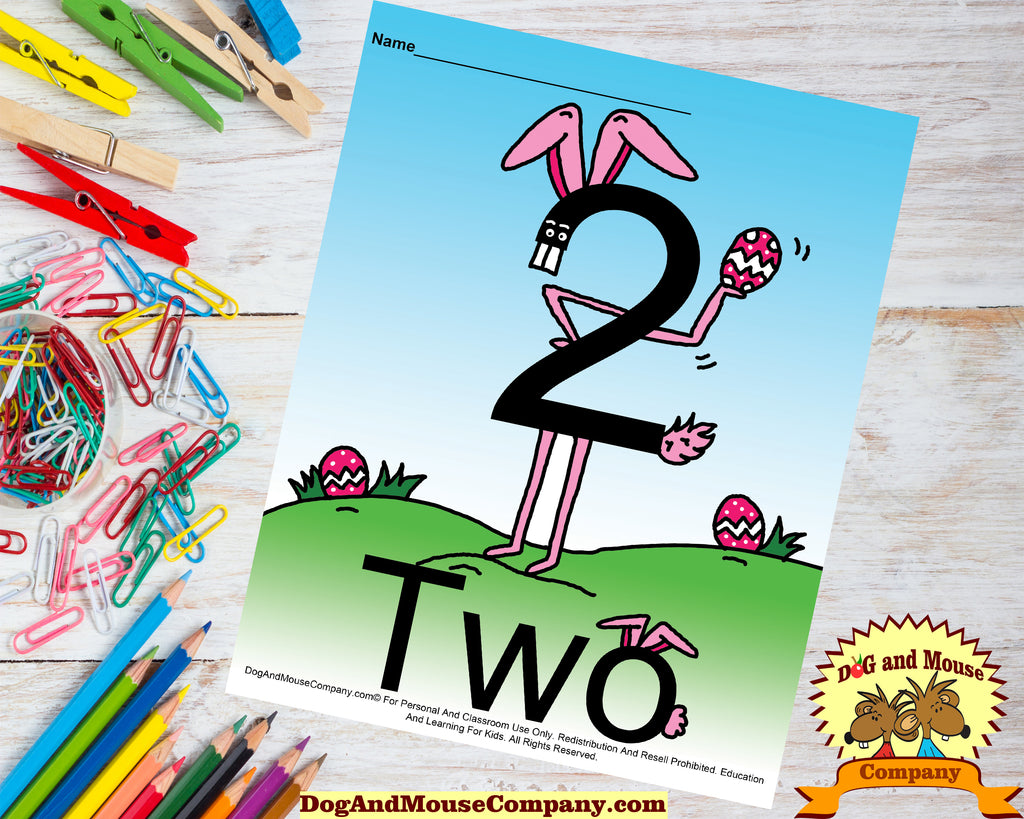 Learn The Number Two Preschool Worksheet by Dog And Mouse Company