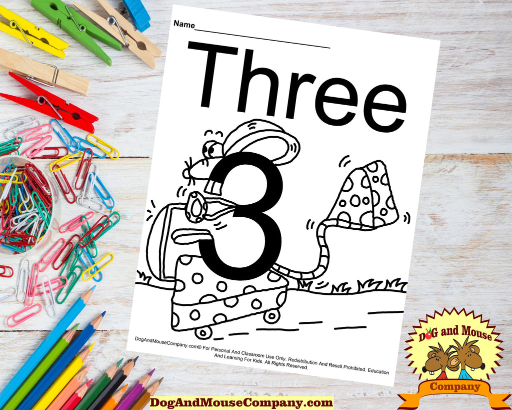 Learn The Number Three Coloring Page Preschool Worksheet by DogAndMouseCompany.com