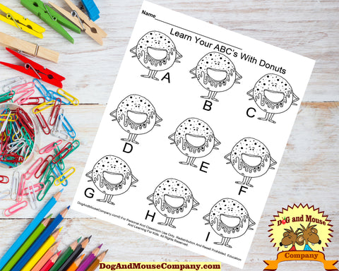Learn Your ABC's With Donuts Preschool Worksheets by DogAndMouseCompany.com