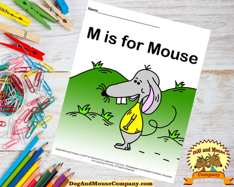 M Is For Mouse Colored Template Worksheet by DogAndMouseCompany.com