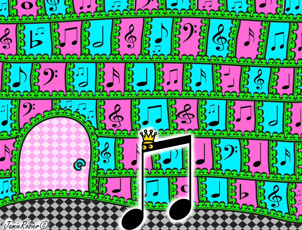 Sir Rhythmic Is the king of the Music Cave Cartoon Illustrations by Jamie Rosier from Stincel And Ringlet | www.DogAndMouseCompany.com