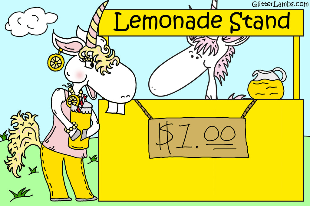 My Unicorn Has A Lemonade Stand Illustration by Jamie Rosier created for GlitterLambs.com products