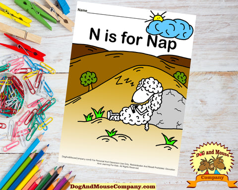 N Is For Nap Colored Template by dogandmousecompany.com Sheep taking a nap worksheet
