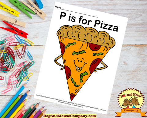 P Is for Pizza colored template worksheet printable by dogandmousecompany.com