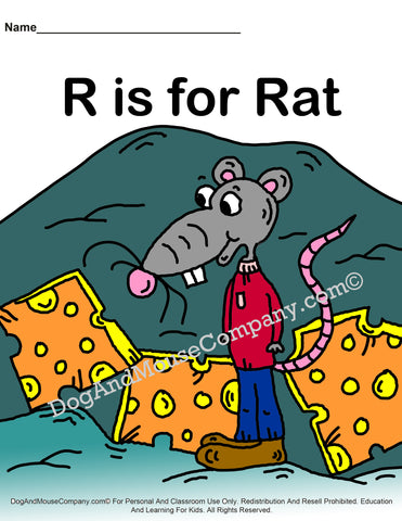 R Is For Rat Colored Page Preschool worksheets by dogandmousecompany.com