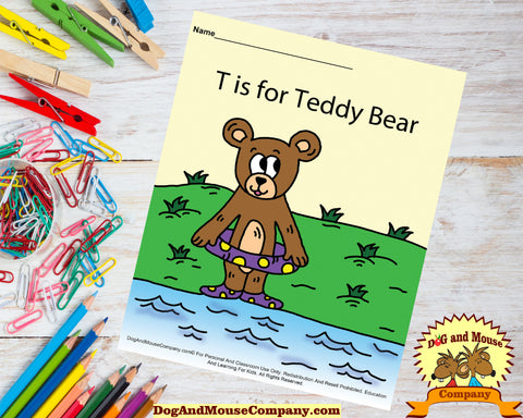 T Is For Teddy Bear Colored template worksheet preschool by dogandmousecompany.com