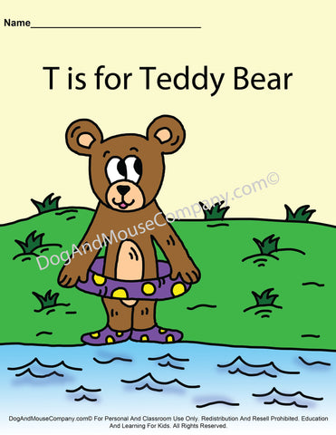 T Is for Teddy Bear Colored Template Page worksheet by dogandmousecompany.com