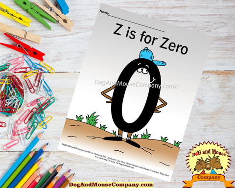 Z is for Zero colored template worksheet by dogandmousecompany.com