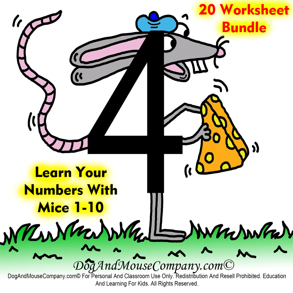 Learn your numbers 1 to 10 with mice preschool worksheets bundle. Digital Download by DogAndMouseCompany.com | Dog And Mouse Company | Number Four Mouse Holding Cheese Picture