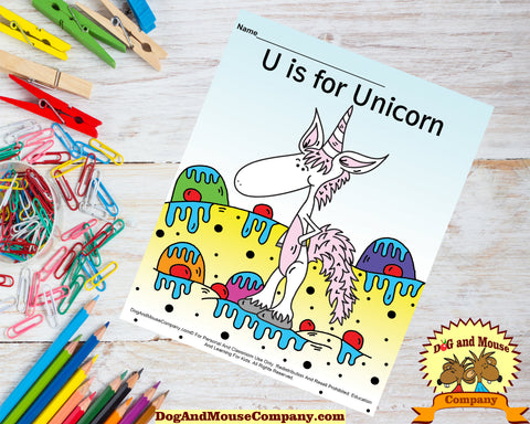 U Is for unicorn colored template worksheet by dogandmousecompany.com