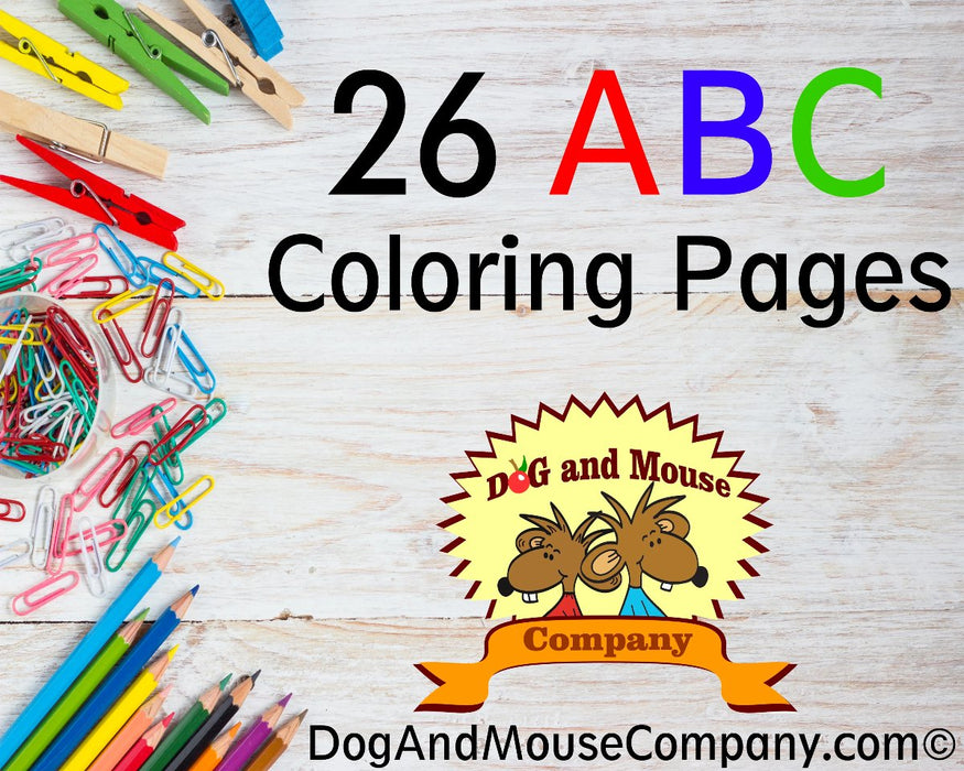 26 Learn Your ABC's | A To Z Coloring Page Worksheets Printable Digital Download by Dog And Mouse Company | dogandmousecompany.com