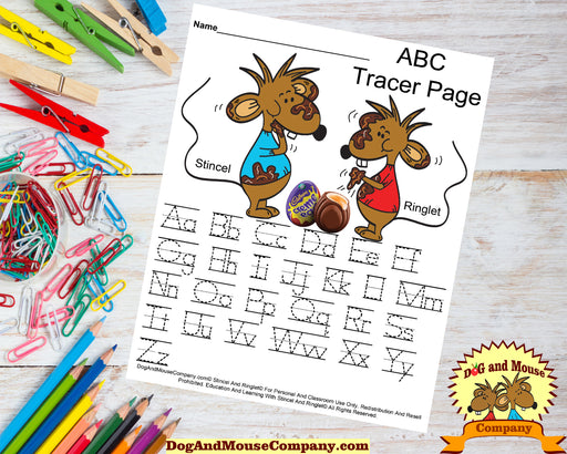 Easter ABC Tracer Page Preschool Worksheet with Stincel and Ringlet eating Cadbury Eggs.