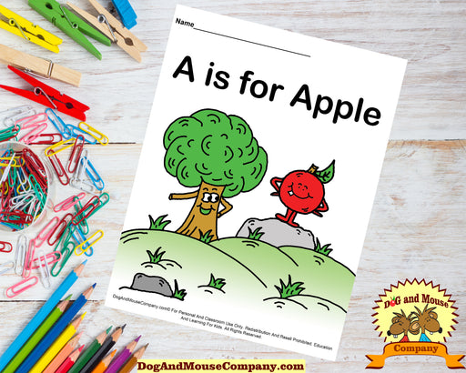 A Is For Apple Colored Template | Learn Your ABC's Worksheet | Printable Digital Download by Dog And Mouse Company