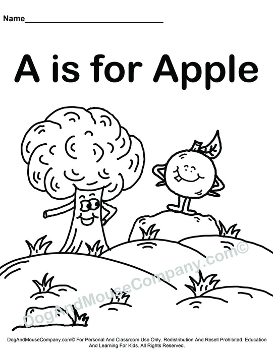 A Is For Apple Coloring Page Learn Your Abc S Worksheet Printable Dog And Mouse Company