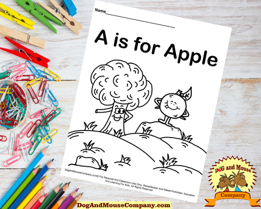 A Is For Apple Coloring Page | Learn Your ABC's | Worksheet Printable Digital Download by Dog And Mouse Company