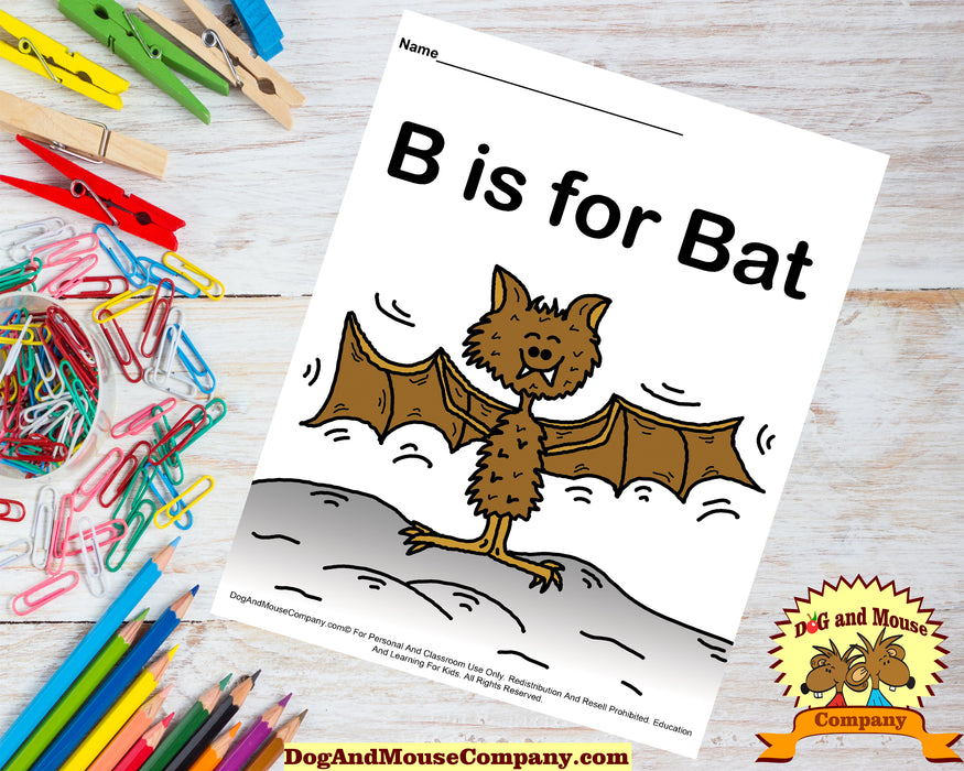 B Is For Bat Colored Template | Learn Your ABC's Worksheet | Printable Digital Download by Dog And Mouse Company