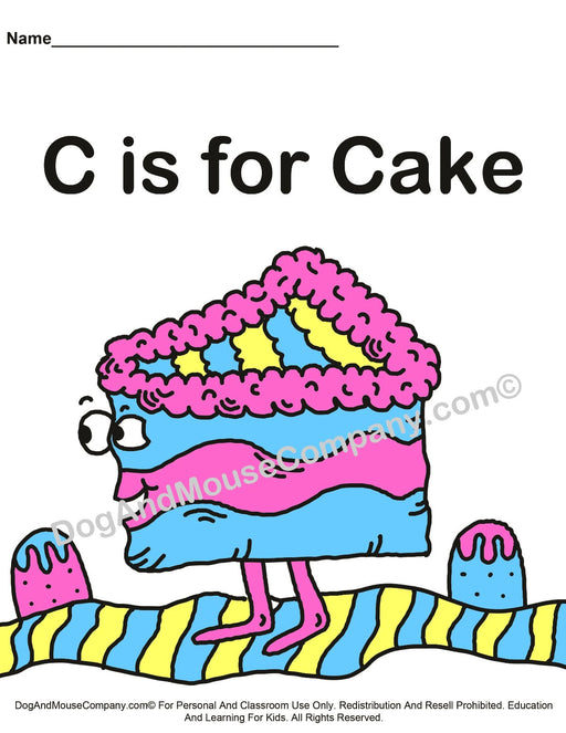 C Is For Cake Colored Template | Learn Your ABC's Worksheet | Printable Digital Download by Dog And Mouse Company