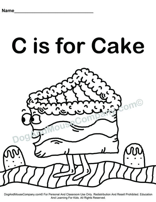 C Is For Cake Coloring Page | Learn Your ABC's | Worksheet Printable Digital Download by Dog And Mouse Company