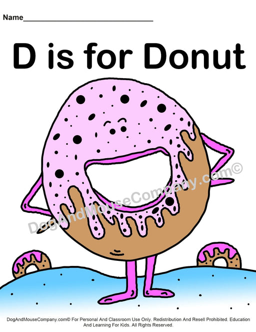D Is For Donut Colored Template | Learn Your ABC's Worksheet | Printable Digital Download by Dog And Mouse Company