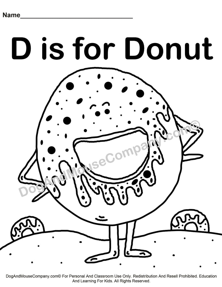 D Is For Donut Coloring Page | Learn Your ABC's | Worksheet Printable Digital Download by Dog And Mouse Company