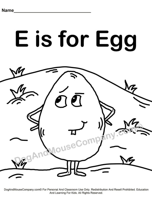 E Is For Egg Coloring Page | Learn Your ABC's | Worksheet Printable Digital Download by Dog And Mouse Company