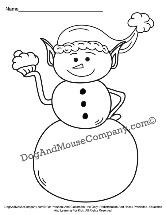 Elf Snowman Holding A Cupcake Christmas Coloring Page Printable Digital Download by Dog And Mouse Company