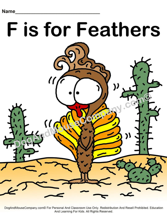 F Is For Feathers Colored Template | Learn Your ABC's Worksheet | Printable Digital Download by Dog And Mouse Company
