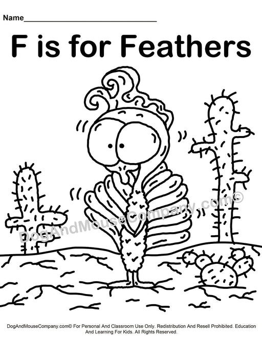 F Is For Feathers Coloring Page | Learn Your ABC's | Worksheet Printable Digital Download by Dog And Mouse Company