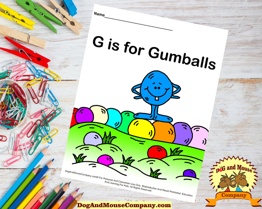 G Is For Gumballs Colored Template | Learn Your ABC's Worksheet | Printable Digital Download by Dog And Mouse Company