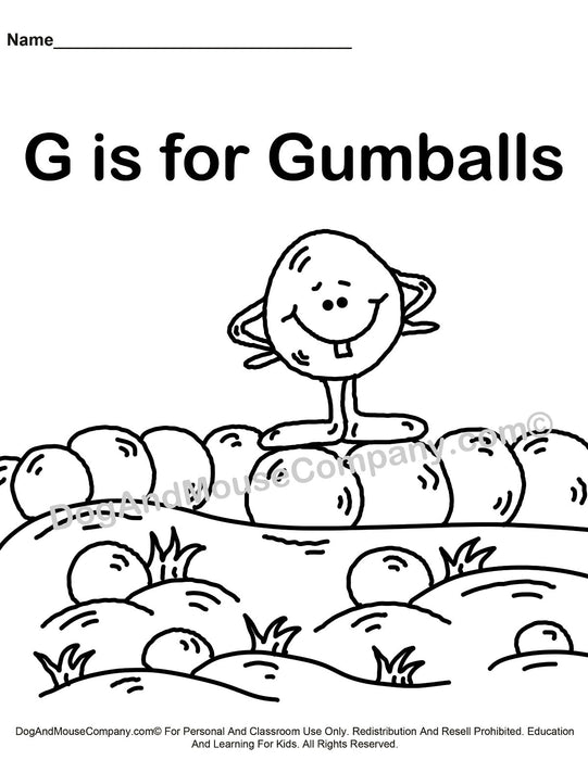 G Is For Gumballs Coloring Page | Learn Your ABC's | Worksheet Printable Digital Download by Dog And Mouse Company