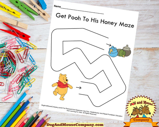 Get Pooh To His Honey Maze. Printable digital download by Dog And Mouse Company