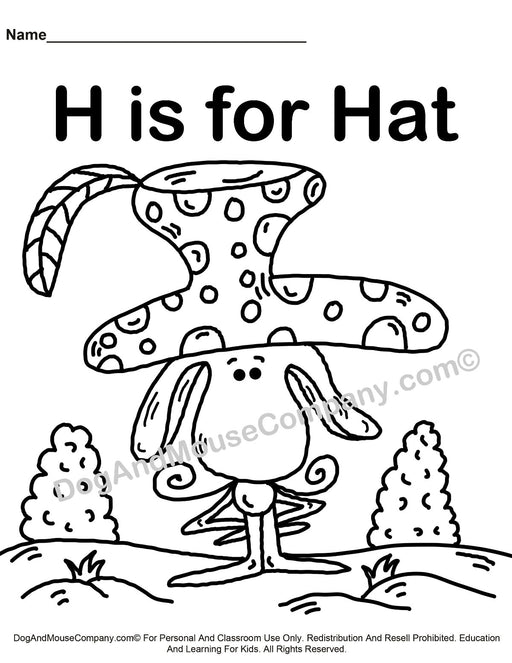 H Is For Hat Coloring Page | Learn Your ABC's | Worksheet Printable Digital Download by Dog And Mouse Company