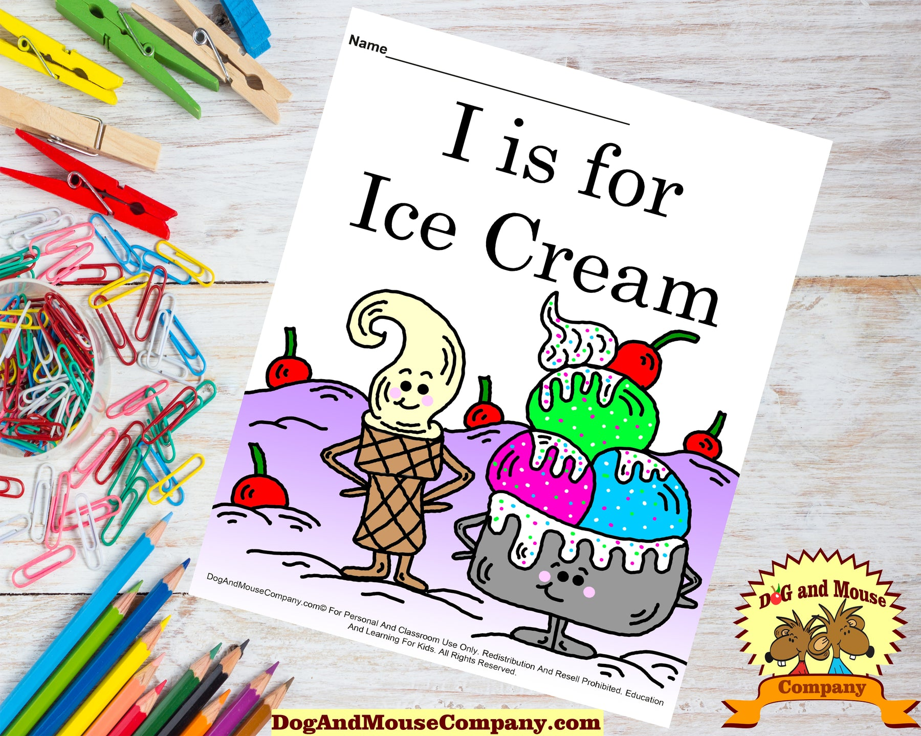 I Is For Ice Cream Colored Template | Learn Your ABC's Worksheet | Printable Digital Download by Dog And Mouse Company