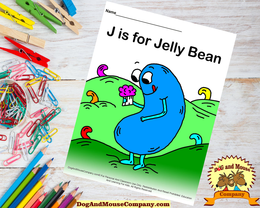J Is For Jelly Bean Colored Template | Learn Your ABC's Worksheet | Printable Digital Download by Dog And Mouse Company
