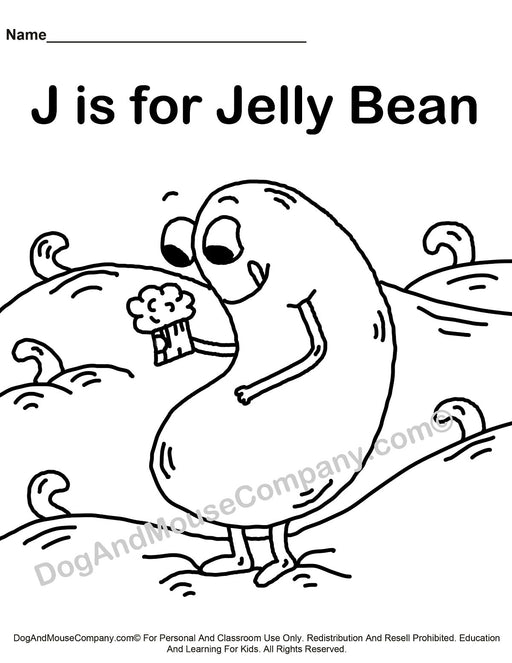 J Is For Jelly Bean Coloring Page | Learn Your ABC's | Worksheet Printable Digital Download by Dog And Mouse Company