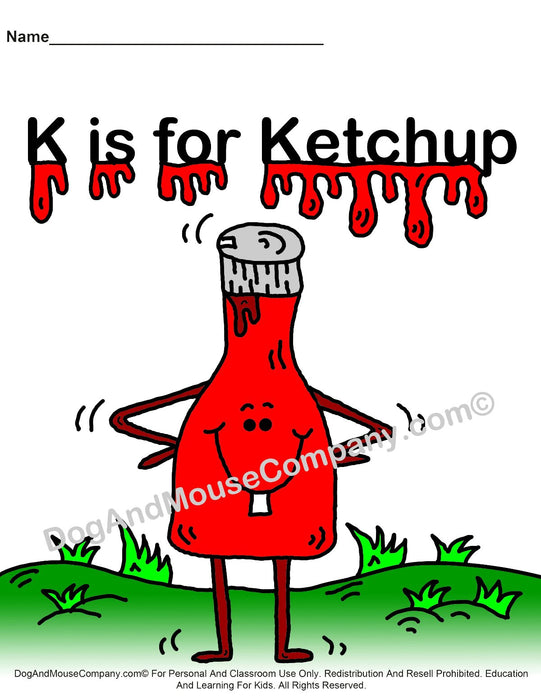 K Is For Ketchup Colored Template | Learn Your ABC's Worksheet | Printable Digital Download by Dog And Mouse Company