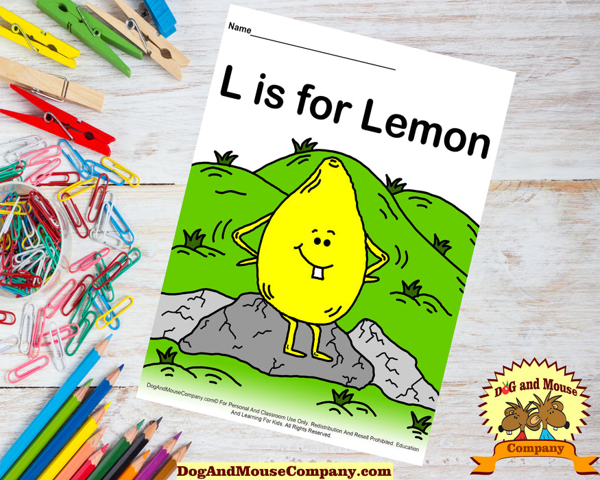 L Is For Lemon Colored Template | Learn Your ABC's Worksheet | Printable Digital Download by Dog And Mouse Company