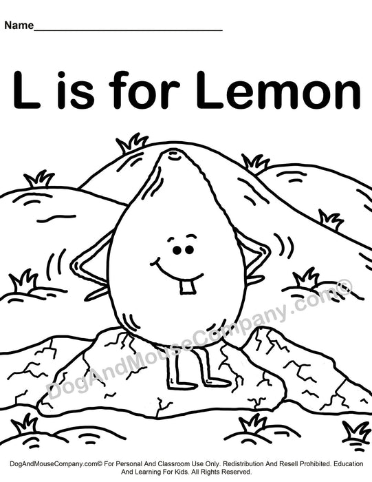 L Is For Lemon Coloring Page | Learn Your ABC's | Worksheet Printable Digital Download by Dog And Mouse Company