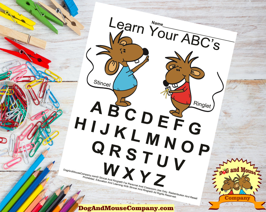 Learn Your ABC's Worksheet With Stincel And Ringlet© Printable Digital Download by DogAndMouseCompany.com© Homeschool Teach Children Kids A B C D E F G H I J K L M N O P Q R S T U V W X Y Z